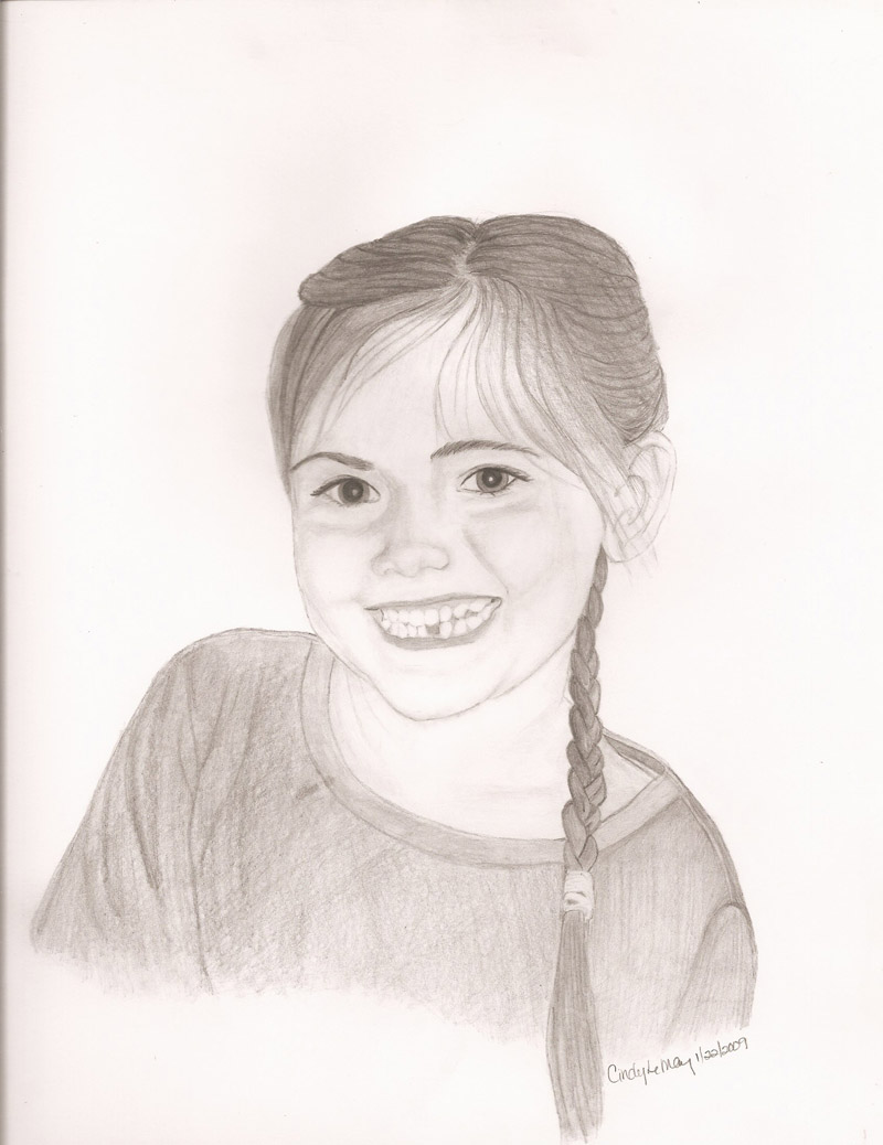 Portrait sketch of girl smiling.