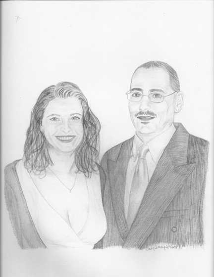Portrait sketch of couple.